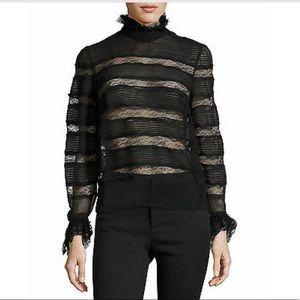 ISABEL MARANT Black Lace Ruffle Silk Blouse Top